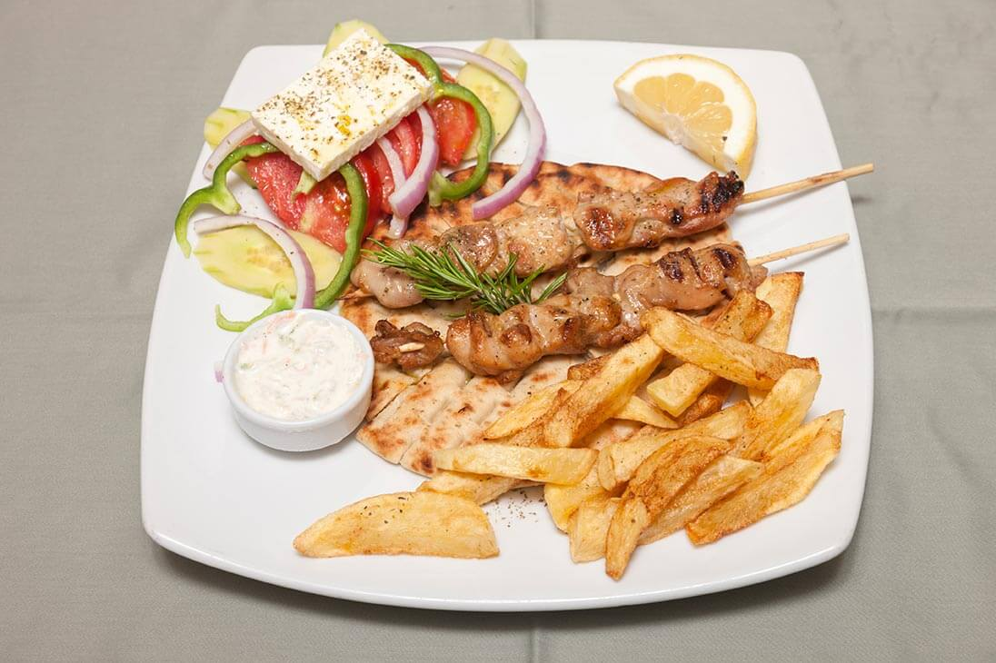 Chicken or Pork Souvlaki Relax Restaurant Alykes Zante Zakynthos Greece